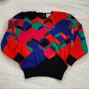 Vintage Angora Wool Multicolor Knit Sweater